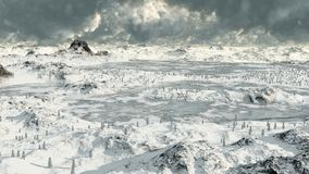 Icy Mountain Lakes 2. Frozen lakes in a snowy high mountain landscape, 3d digitally rendered illustration royalty free illustration