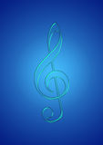 Icy music note. In gradient blue background Stock Photos
