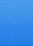 Icy music note. In blue background Stock Image