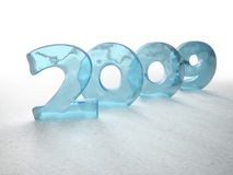Icy New Year. 2009 made out of ice on snow vector illustration