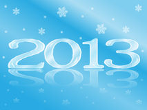Icy New Year Card. New Year card with frozen 2013 and snowflakes Vector Illustration