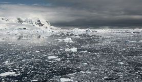 Icy ocean before the storm in Antarctica Stock Photography