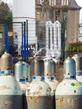 Liquid oxygen in a cylindrical tank. Icy oxygen tank at a hospital stock photo
