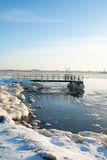Icy pier Stock Photography