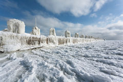 Icy pier. Winter panorama perspective Stock Photography