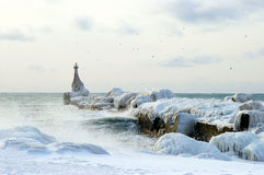 The Icy pier. Royalty Free Stock Images