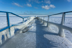 Icy pier Stock Image