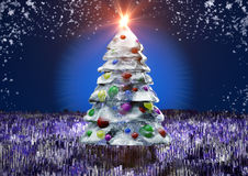 Icy pine tree. Icy Christmas pine-tree without text Royalty Free Stock Photos
