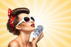 Icy pinup girl. Royalty Free Stock Photo