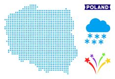 Frozen Poland Map. Icy Poland map. Vector geographic scheme in blue icy colors. Vector pattern of Poland map organized of snowflakes royalty free illustration