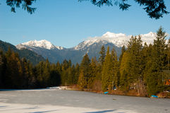 Icy Pond with Mountains. The Olympic Mountains with blue sky and frozen pond royalty free stock image