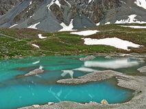 Icy Pond Snow-covered Mountain in Summer Tianshan. There is a clear pond and snow-covered mountain landscape in summer. The Tian Shan, also known as the Tengri stock photography