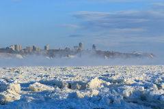 Icy Quebec City. A view of Quebec City in the morning on a very cold day of winter royalty free stock photography