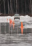 Icy race. Car cace on ice at winter Royalty Free Stock Photography