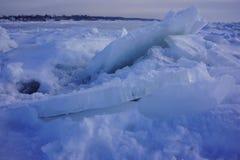 Icy ranges. Ice flow on lake michigan Stock Image