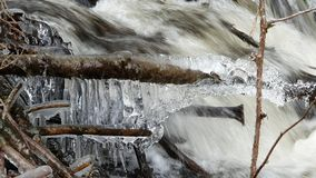 Icy river in the Belgian Ardennes. Flowing river covered with ice during winter in the Belgian Ardennes stock image