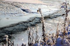 An icy river stock image