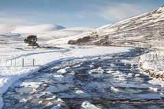 Icy River Gairn and Mountains in Scotland. Icy River Gairn and Mountains in the highlands of Scotland royalty free stock photo
