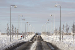Snow on road Royalty Free Stock Photography
