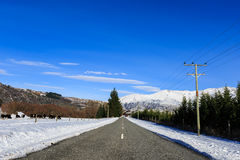 Icy road condition in winter Stock Image