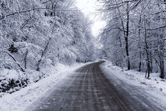 Icy Road. Just a hard for travel road in the winter stock photos