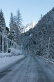 Icy Road, Northern Italy Royalty Free Stock Photos