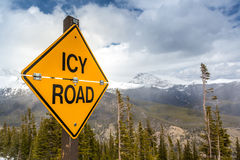 Icy Road Sign stock photography