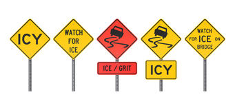 Icy Road Signs. Vector illustration of different Icy warning road signs Stock Photography