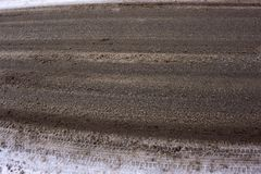 Icy road in winter brown Stock Photo