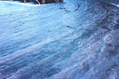 Icy road in winter. The icy road in winter at Vilnius, Lithuania Stock Photography