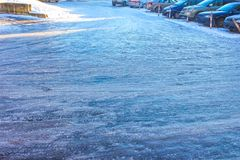 Icy road in winter Royalty Free Stock Photos