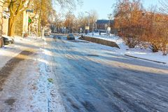 Icy road in winter. The icy road in winter at Vilnius, Lithuania royalty free stock image