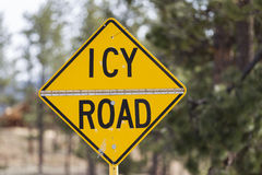 Icy Road. Yellow warning sign, Icy Road, United States stock photography