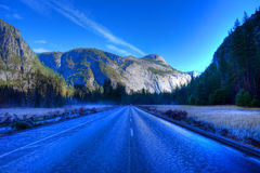 Icy Road Yosemite Valley Royalty Free Stock Images