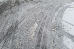 Icy roads. Tire tracks on an icy road Stock Photography