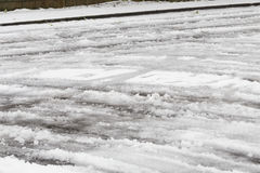 Icy Roads After Freezing Rain Storm Stock Photo