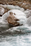 Icy Rock. Ice covered rock at Elbow Falls Alberta Stock Photos
