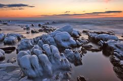Icy rocks of the East Sea. Stock Photo