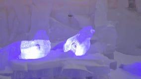 Icy sculpture of frozen seals in winter city. Sculpture of seals made of ice or snow. Ice Sculptures in Russia stock video