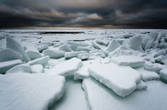 Icy sea. Ice cold frozen sea with dramatic clouds Stock Photography