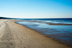 Icy sea beach with first ice pieces. In baltic sea. latvia Stock Images