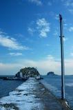 icy seawall Arkivfoto