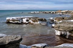 Icy shore of the Caspian Sea. Royalty Free Stock Photos