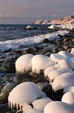 Icy shore of the East Sea. Royalty Free Stock Photos