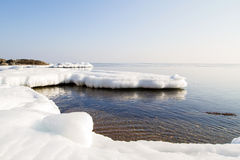 Icy shore of the sea. Royalty Free Stock Images