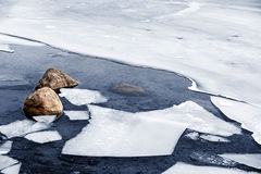 Icy shore in winter Stock Images