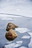 Icy shore in winter Royalty Free Stock Photo