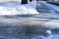 Icy sidewalk. Sidewalk covered with a layer of ice after rain in winter Royalty Free Stock Photos