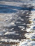 Icy sidewalk Royalty Free Stock Photos
