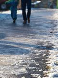 Icy sidewalk Royalty Free Stock Photo